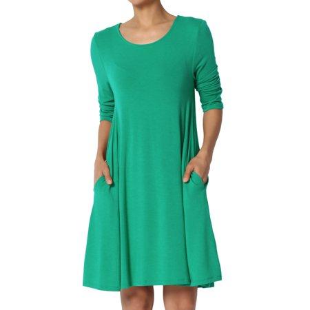TheMogan Women's S~3XL Basic 3/4 Sleeve Swing Flared Tunic Dress Pocket Long Top
