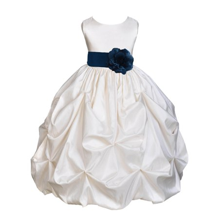 Ekidsbridal Taffeta Bubble Pick-up Ivory Flower Girl Dress Weddings Summer Easter Dress Special Occasions Pageant Toddler Girl's Clothing Holiday Bridal Baptism Junior Bridesmaid First Communion - Cotton First Communion Dress