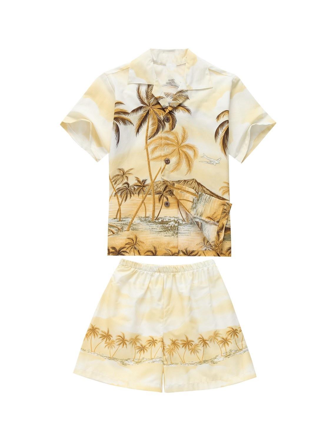 Made in Hawaii Luau Aloha Shirt and Shorts Boy Cabana Set Palm Edge Yellow 6