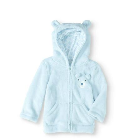 1e6286271 Quiltex - Newborn Baby Boy Plush Hooded Critter Jacket - Walmart.com