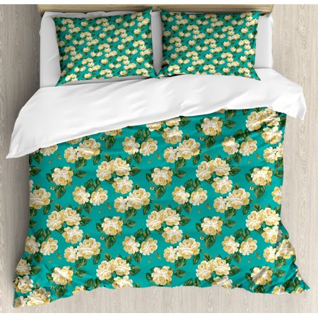 Yellow and Blue Queen Size Duvet Cover Set, Romantic English Roses Flourishing Garden Art, Decorative 3 Piece Bedding Set with 2 Pillow Shams, Pale Sea Green Pale Yellow Fern Green, by Ambesonne English Garden 3 Light
