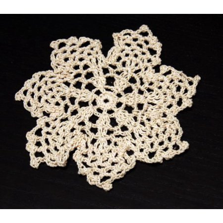 Handmade Crochet Lace Pineapple Beige Doily. 4 Inch Round. 100% Cotton. 4 Pieces.