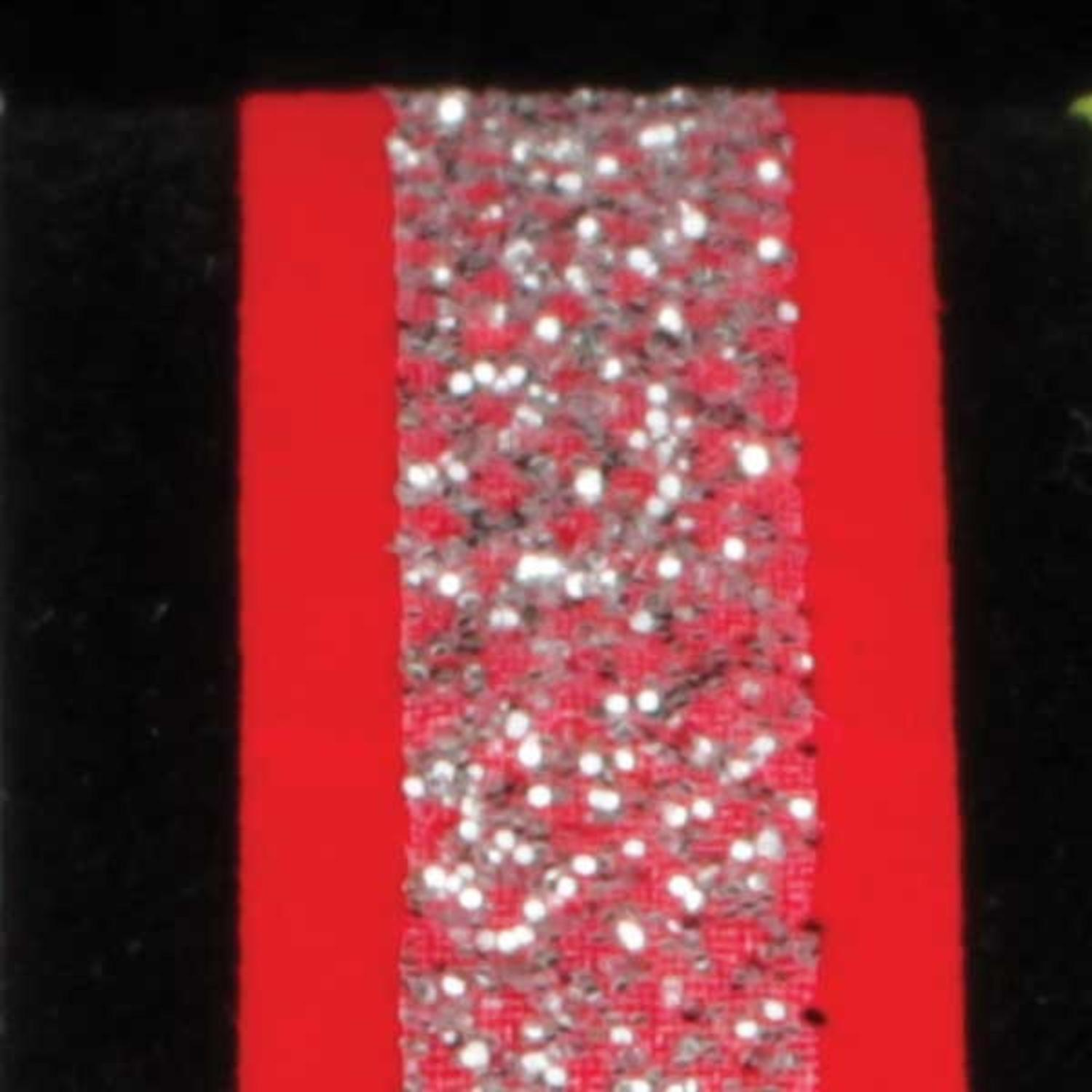 """Velvet Bands of Glitter Red and Silver Wired Craft Ribbon 5/8"""" x 60 Yards"""