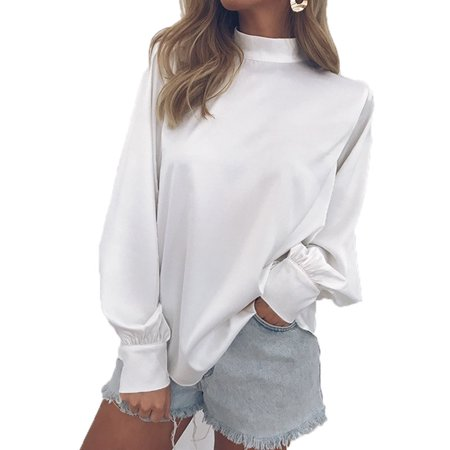 - Women Fashion Casual Solid Color High Collar T-shirt Long Bishop Sleeve Loose Chiffon Blouse Pullover Tops