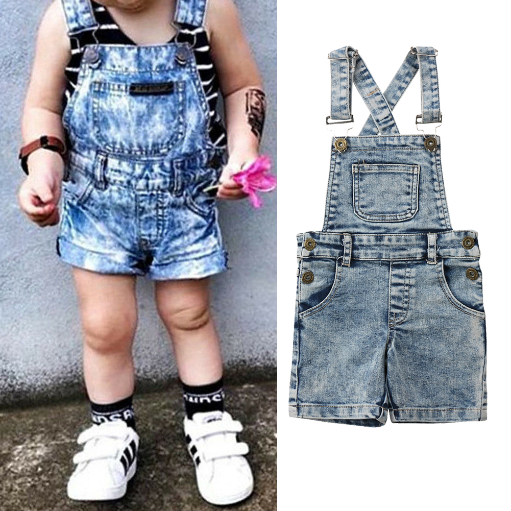 Fashion Toddler Kids Baby Boys Girls Denim Romper Jumper Bib Short Pants Overalls Outfits Clothes 6-12 Months