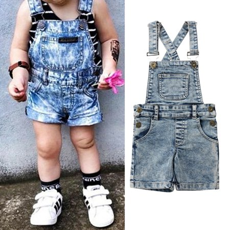 Fashion Toddler Kids Baby Boys Girls Denim Romper Jumper Bib Short Pants Overalls Outfits Clothes 6-12 Months ()