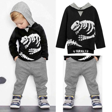 Baby Boy Kids Child Sportswear Clothes Dinosaur Blouse T-shirt Top and Pants Outfit Set Tracksuit - Dinosaur Suit Rental