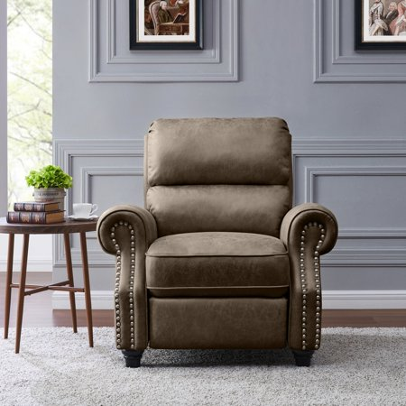 Amazing Homesvale Cari Push Back Recliner Chair In Saddle Brown Distressed Faux Leather Creativecarmelina Interior Chair Design Creativecarmelinacom