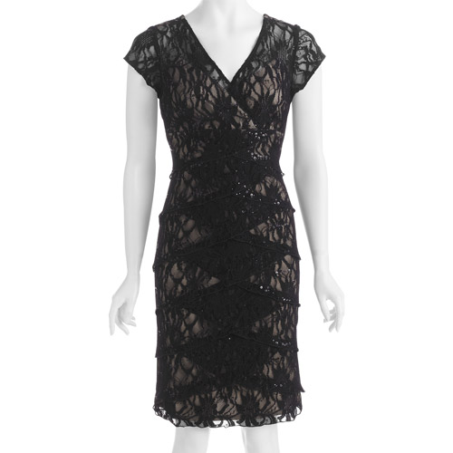 Women's Pleated Lace Holiday Dress