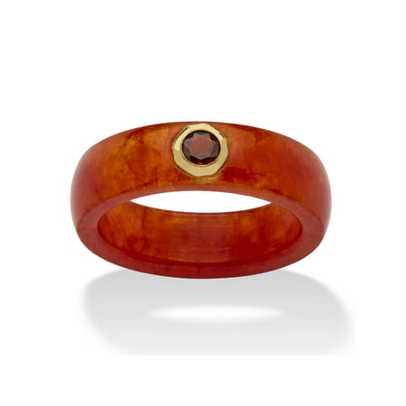 Jade Floral Band Ring - .30 TCW Round Genuine Garnet and Genuine Red Jade 10k Yellow Gold Band Ring