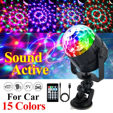 Music Activated Led (15 Colors 5W LED USB Car DJ Disco Ball Lumiere Sound Activated Projector RGBP Stage Lighting Effect Lamp Light Music Christmas KTV)