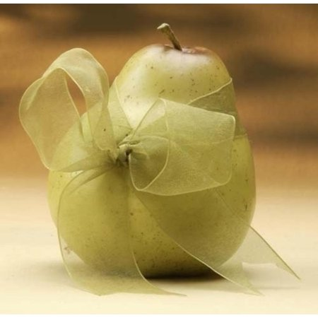 Club Pack of 24 Decorative Pear Fruits With Sheer Green Ribbon 4
