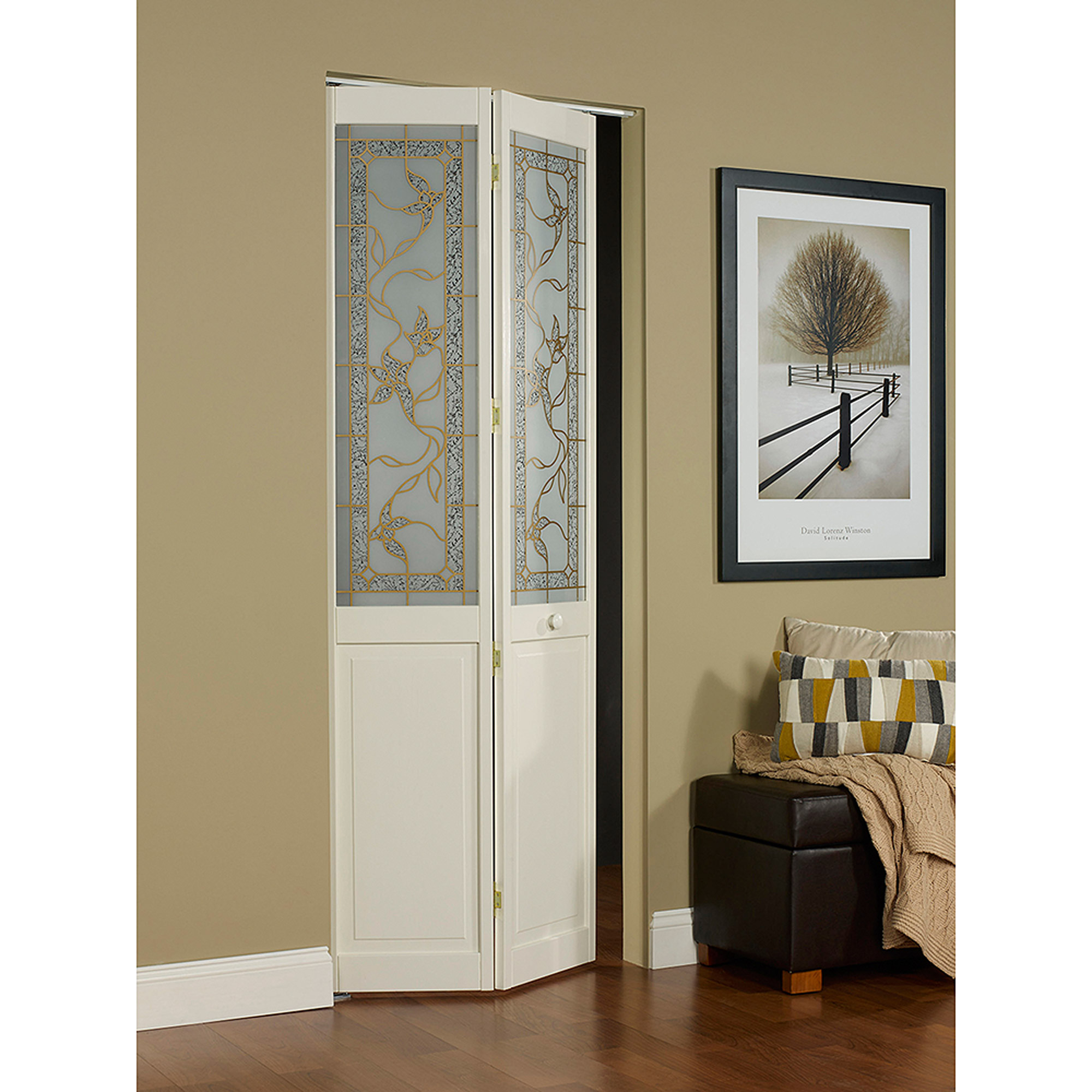 "AWC Giverny Decorative Glass 36"" x 80.5"" Bifold Door"