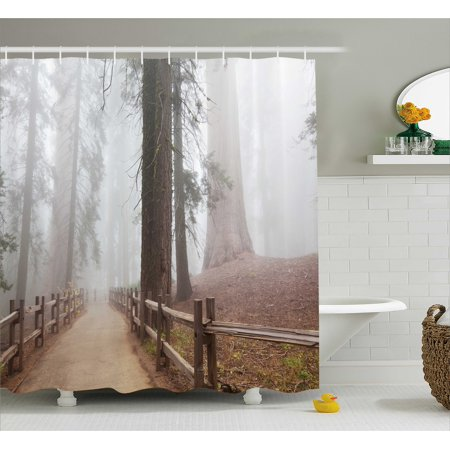 Nature Shower Curtain Set Evergreen Forest And Walkway In Sequoia National Park Foggy Morning