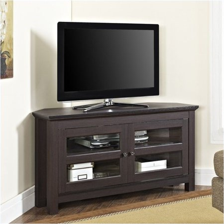 Pemberly Row 44″ Wood Corner TV Stand in Espresso