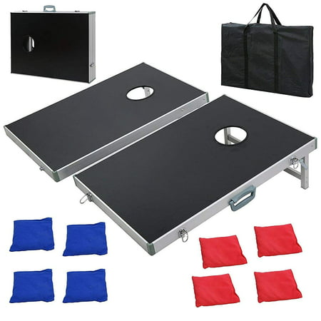 ZENY Portable Aluminum Framed Bean Bag Cornhole Toss Game Set Board 3FT 2FT W/ 8 Bean Bags& Carrying Case| Original Black, Classic Red& Blue to Choose