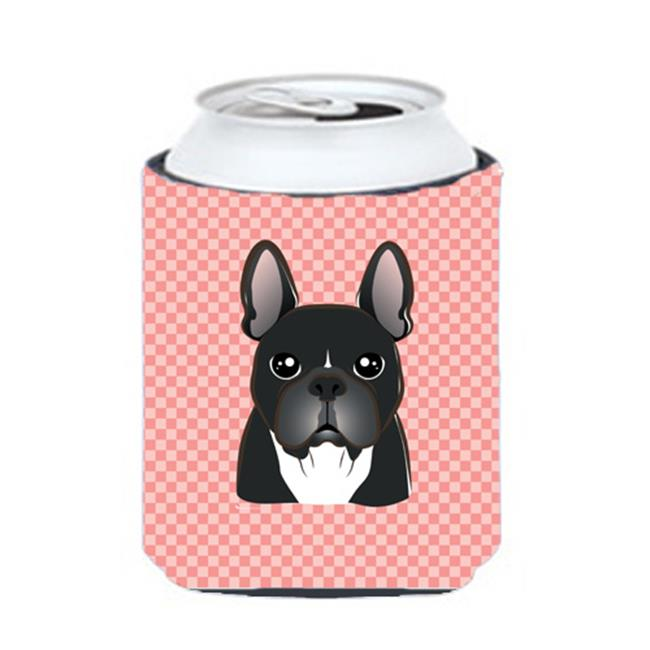 Checkerboard Pink French Bulldog Can Or Bottle Hugger, 12 Oz. - image 1 de 1