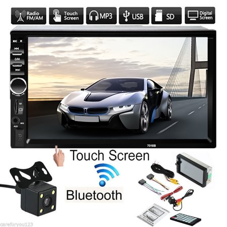 7'' 1080P HD Touch Screen bluetooth Car Stereo Radio 2 DIN MP5 FM Player  Touch Screen + Rear Camera