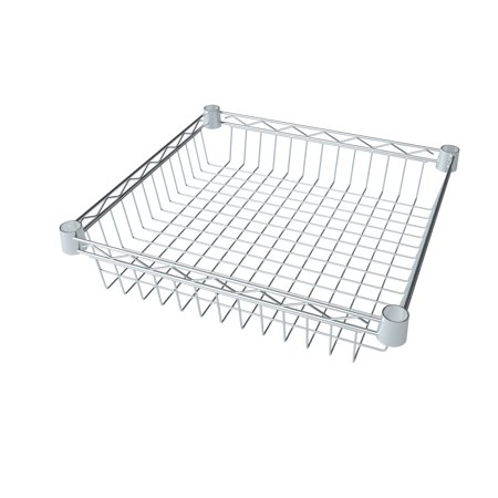 "HSS Wire Shelving Extra Wire Basket 16"" X 16"" X 4"" Deep, Fits on 7/8"" Pole Diameter, Silver/Zinc,1-PACK"