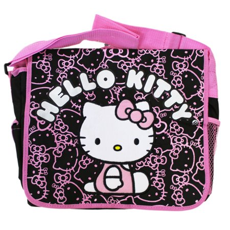 Sanrio s Hello Kitty Face and Bow Pattern Black Pink Messenger Bag -  Walmart.com fa4107c08ad88