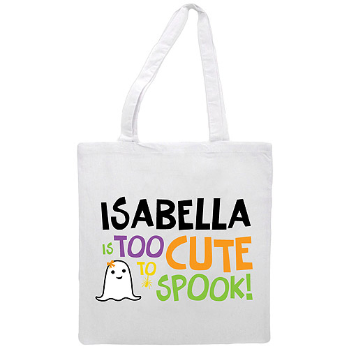 Personalized Girl's Too Cute To Spook Treat Bag