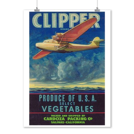 Clipper Airplane Vegetable Label (9x12 Art Print, Wall Decor Travel Poster)
