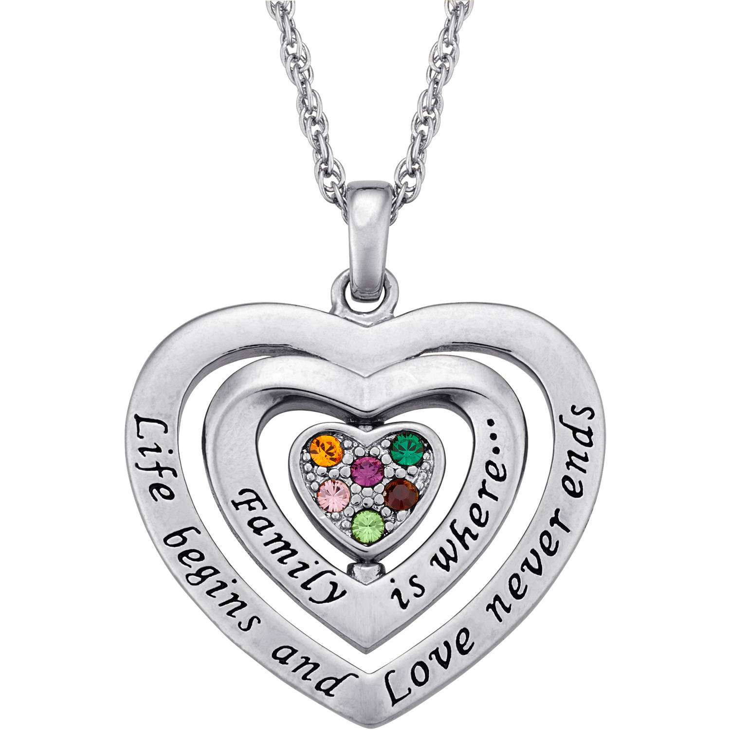Personalized Mom Birthstone Swivel Heart Silver-Tone Pendant