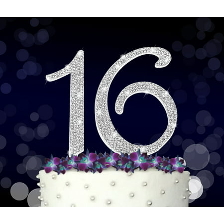 16 Cake Topper, 16th, Sweet 16 Happy Birthday, Anniversary, Crystal Rhinestones on Silver Metal, Party Decorations, Favors