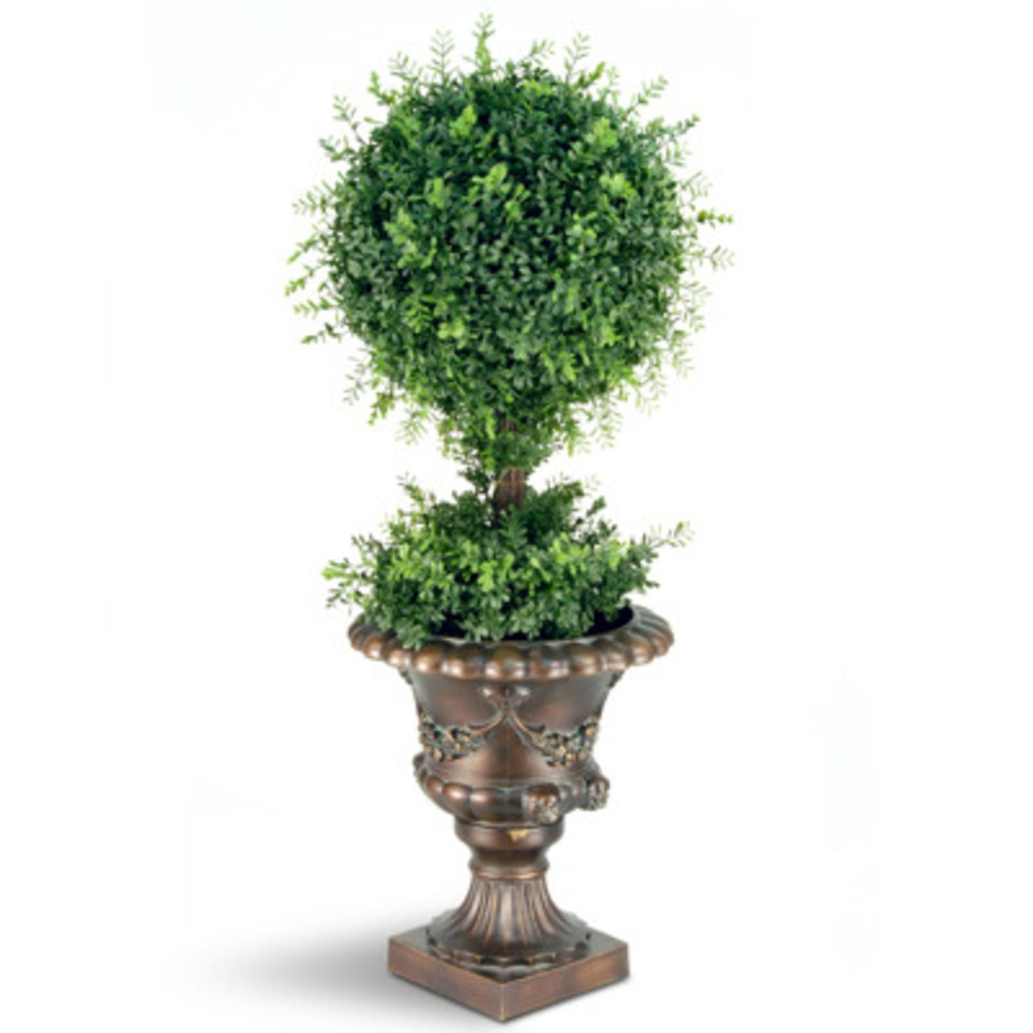 "36"" Potted Artificial Tea Leaf Ball Topiary Tree"