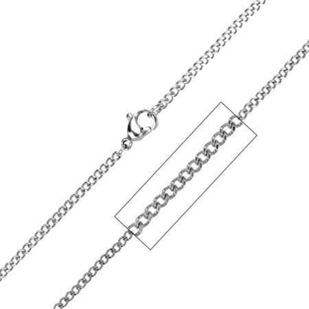 Inox Jewelry NSTC032-24 Diamond Cut Two Face Style Stainless Steel Chain, 2.3 mm & 24 in. - image 1 of 1