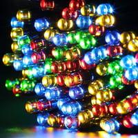 Qedertek Christmas Lights Solar String Lights 72ft 200 LED Fairy Lights 8 Modes Ambiance Lighting for Outdoor Patio Lawn Landscape Garden Home Wedding (Multi-Color)