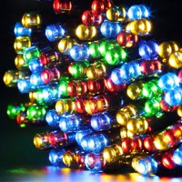 Qedertek Christmas Lights Solar String Lights 72ft 200 LED Fairy Lights 8 Modes Ambiance Lighting for Outdoor Patio Lawn Landscape Garden Home Wedding (Multi-Color)
