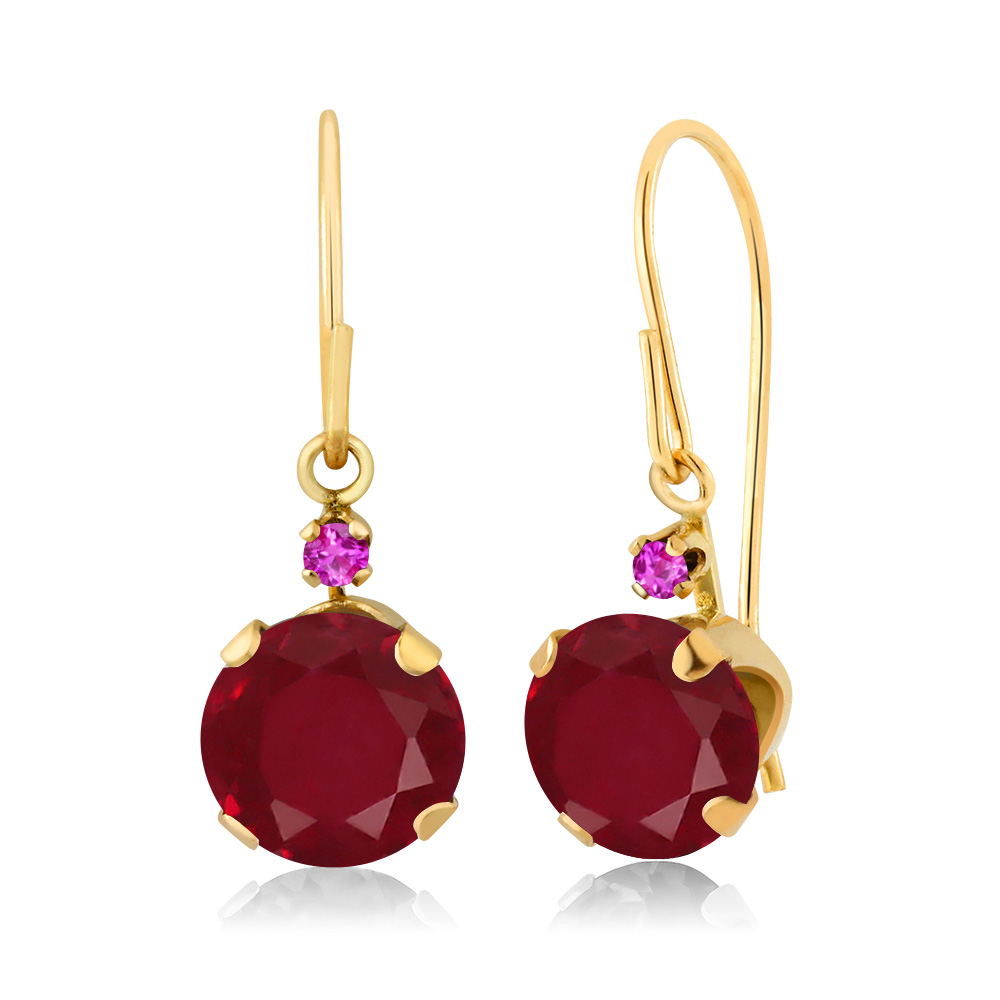 2.14 Ct Round Red Ruby Pink Sapphire 14K Yellow Gold Earrings by