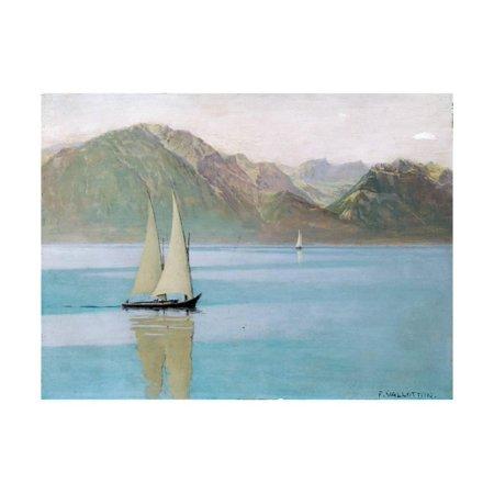 Boat on Lake Geneva, 1892 Coastal Sailboat Painting Print Wall Art By Félix Vallotton