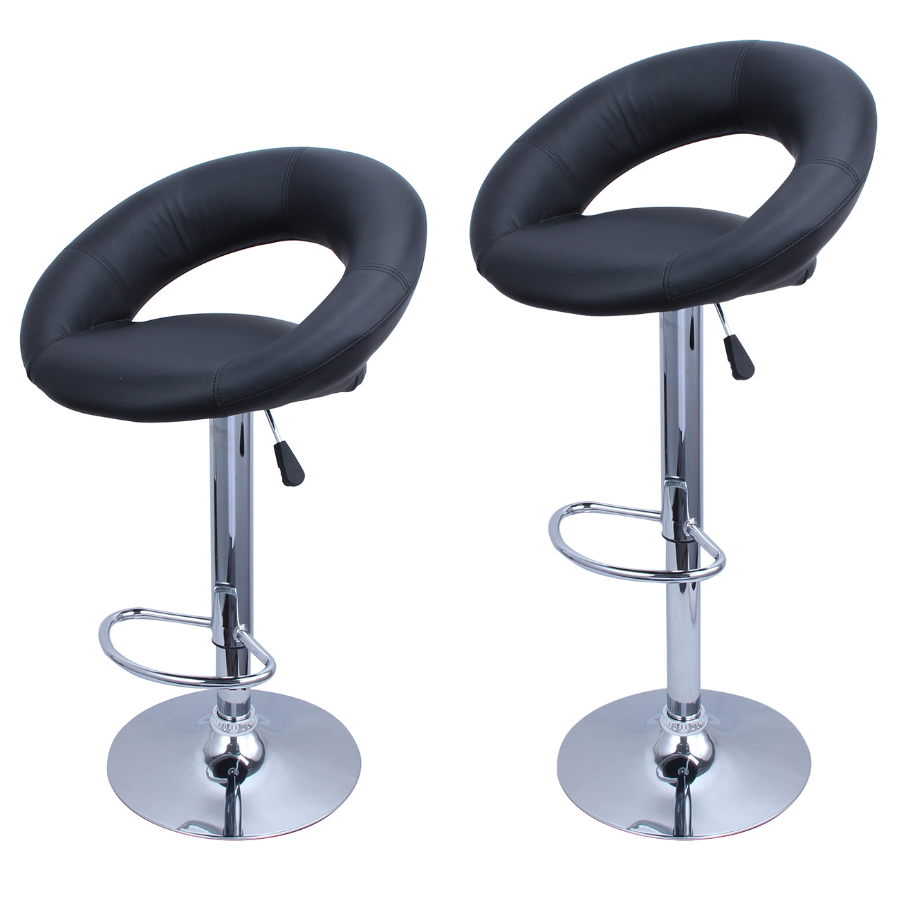 Belleze Bar Stool Pub Modern Adjustable Swivel Hydraulic, Set of 2 Black