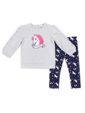 Little Lass Polka Dot Ruffle Unicorn Top and Printed Leggings, 2pc Outfit Set (Baby Girls & Toddler Girls)