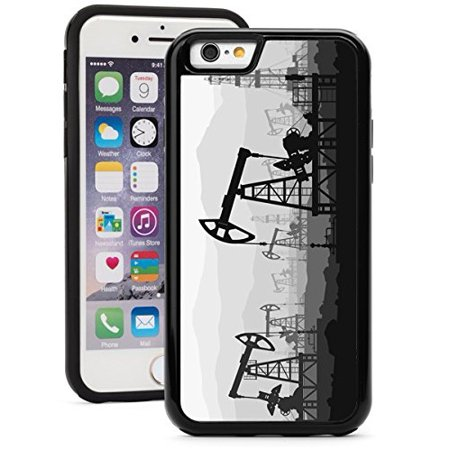 For Apple iPhone 6 Plus 6s Plus Shockproof Impact Hard Soft Case Cover Oil Pumps At Large Oilfield (Black)
