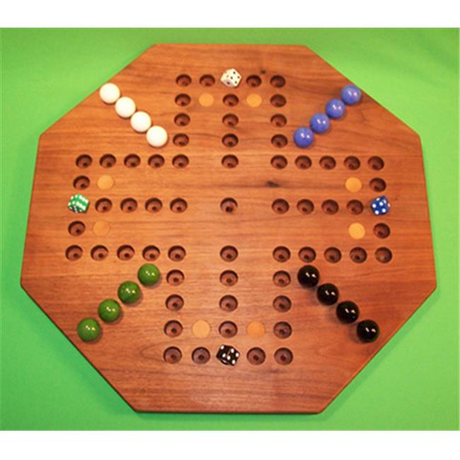Charlies Woodshop W-1933alt. -1 Wooden Marble Game Board - Black Walnut with 8 Birch Inlaid Spots