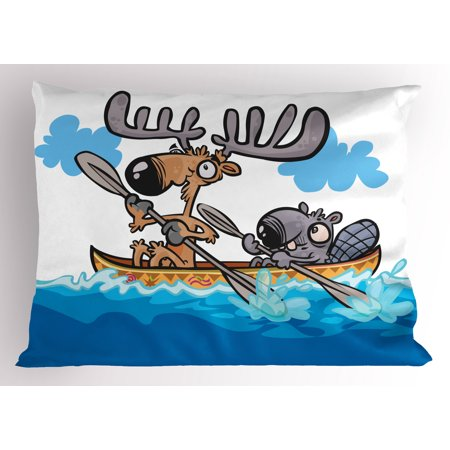 - Moose Pillow Sham American Animals Boat Beaver Friend Canoe River Fun Native Characters Cartoon, Decorative Standard Queen Size Printed Pillowcase, 30 X 20 Inches, Blue White Brown, by Ambesonne