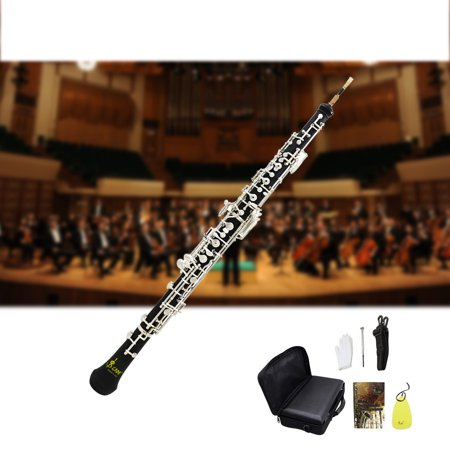 Professional Oboe C Key Cupronickel Plated Silver Woodwind Musical Instrument for Beginner with Reed Gloves Cleaning Cloth Screwdriver Leather Case Bag Strap Gabriels Oboe Flute