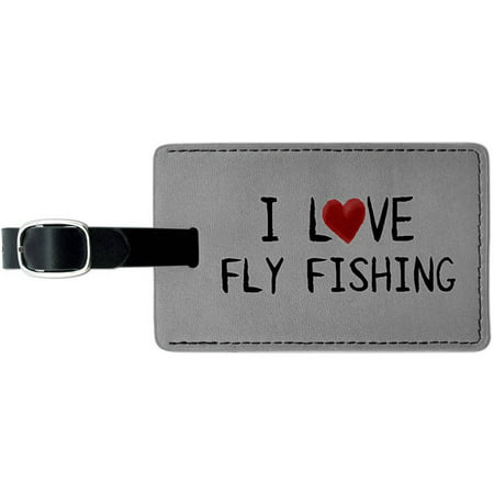 I Love Fly Fishing Written on Paper Leather Luggage ID Tag Suitcase Carry-On