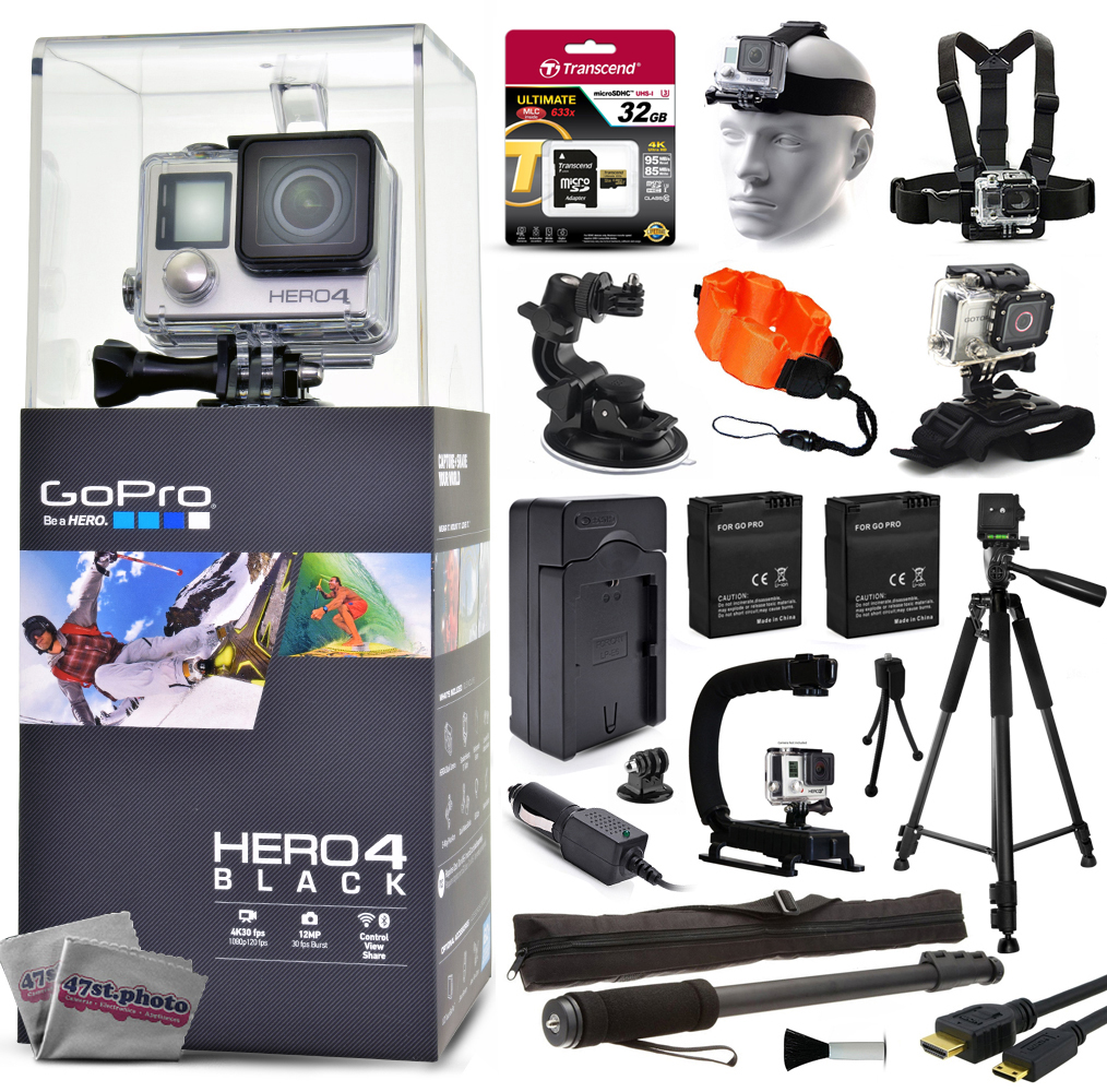 """GoPro Hero 4 HERO4 Black CHDHX-401 with 32GB Card + Head/Chest Mount + Suction Cup + Floaty Strap + Wrist Glove + 60? Tripod + Two Batteries + Travel Charger + Opteka X-Grip + 67"""" Monopod + More"" GPH4BNEW32GBK26"