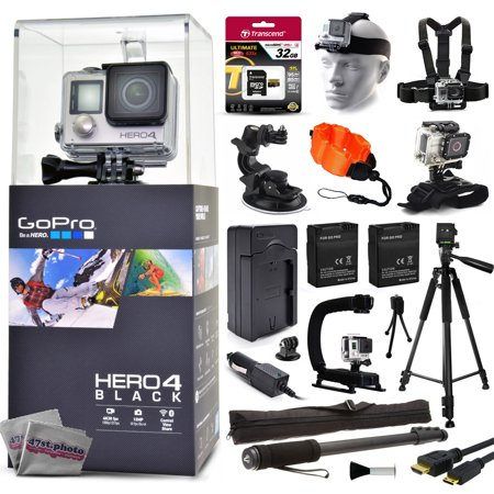 Gopro Hero 4 Hero4 Black Chdhx 401 With 32Gb Card   Head Chest Mount   Suction Cup   Floaty Strap   Wrist Glove   60  Tripod   Two Batteries   Travel Charger   Opteka X Grip   67   Monopod   More