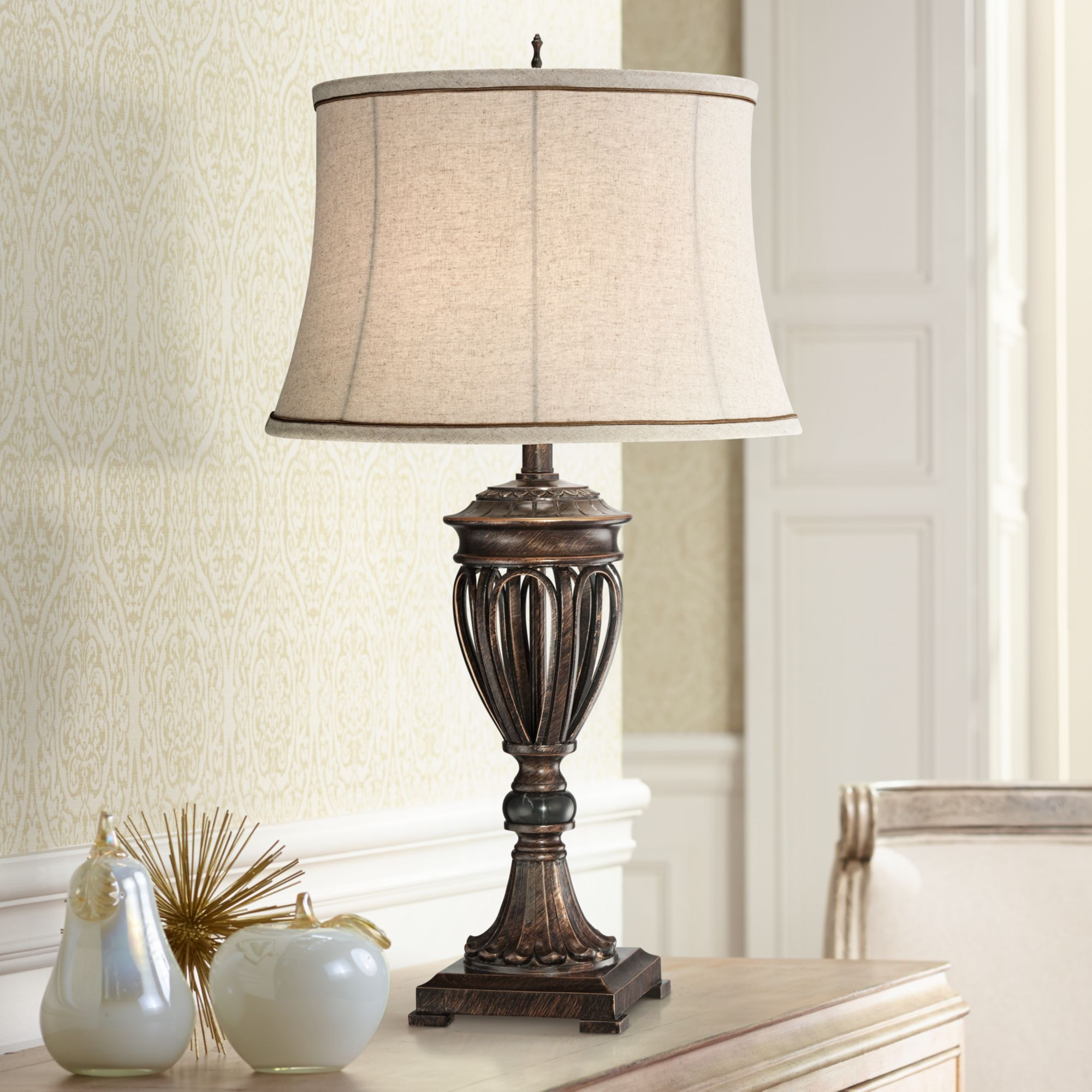 Regency Hill Traditional Table Lamp Bronze Open Urn Tan Drum Fabric Shade for Living Room Family Bedroom Bedside Nightstand Office