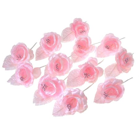 Single Satin Rose Beaded Flowers  12 Piece