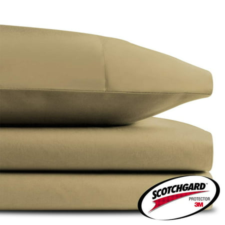 HONEYMOON HOME FASHIONS Cal King 3M Scotchgard Microcell Sheet Set, Dark Khaki
