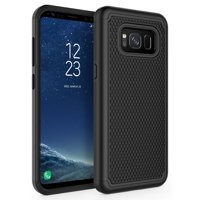 Shock-proof Hybrid Case Dual Layer Armor Cover Reinforced Drop Protection [Black] for Samsung Galaxy S8