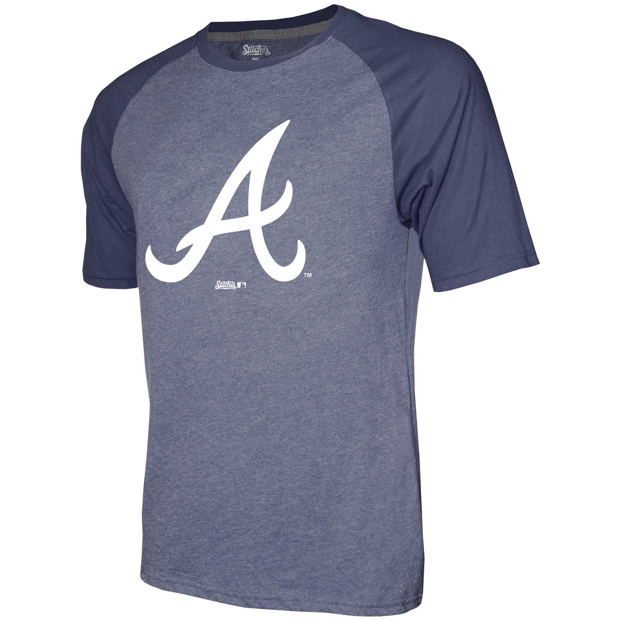 Atlanta Braves Stitches Team Logo Raglan T-Shirt - Heathered Navy ...