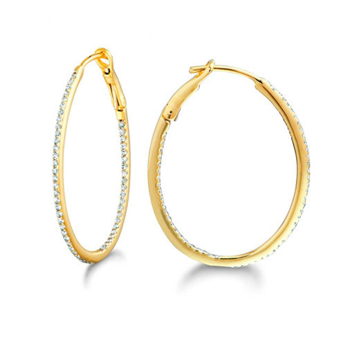 Silver on the Rocks Micro Prong Gold Over Silver Diamond 0.26CT Oval Hoop Earring