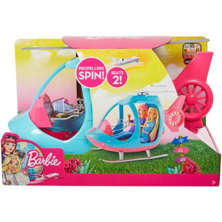Barbie Travel Pink and Blue Helicopter with Spinning Rotors](Barbie Toy)